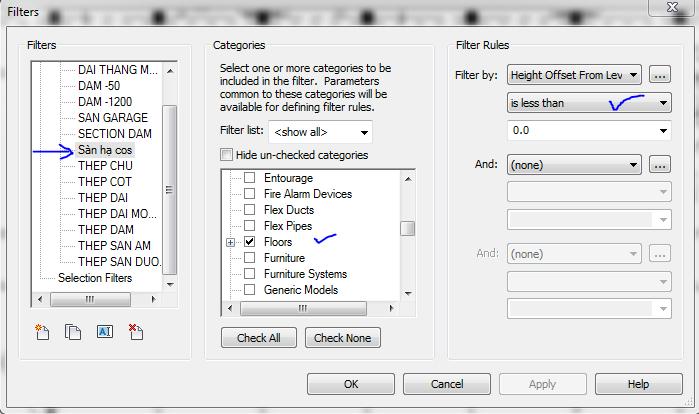 bo loc filter trong revit